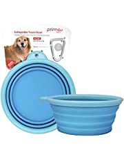 (LARGE (5 CUPS), AQUA) - Prima Pet Collapsible Silicone Food & Water Travel Bowl with Clip for Dog and Cat, Sizes Available: SMALL (1.5 Cups) & LARGE (5 Cups)