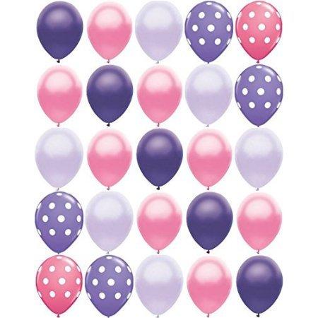 Princess Party Balloon - 25 pc Pink and Purple Polka Dot 11