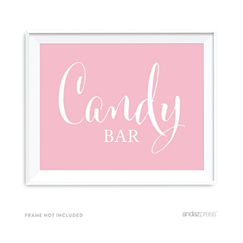 Andaz Wedding Party Signs, Blush Pink, 8.5x11-inch, Candy Bar Reception Dessert Table Sign, 1-Pack