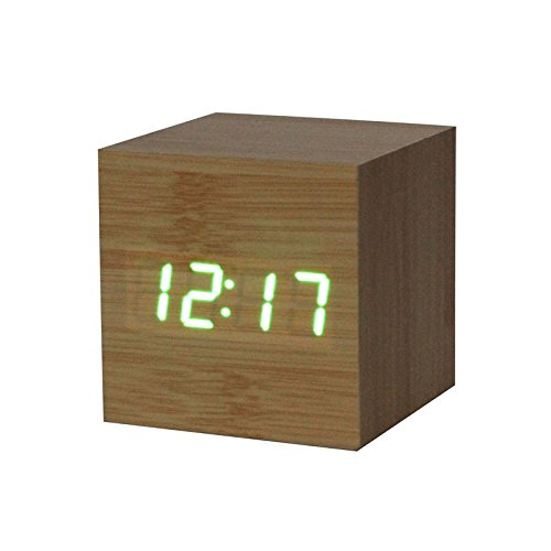 Giulot 3D Wooden Digital Alarm Clock LED Bamboo Wooden Wake Up Clock Desk Clock Voice Control Home Art Clock Digital Alarm Digital Clock LED Desk Shelf Travel Clock for Office Cafe Decor
