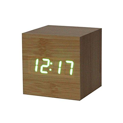 (Giulot 3D Wooden Digital Alarm Clock LED Bamboo Wooden Wake Up Clock Desk Clock Voice Control Home Art Clock Digital Alarm Digital Clock LED Desk Shelf Travel Clock for Office Cafe Decor)