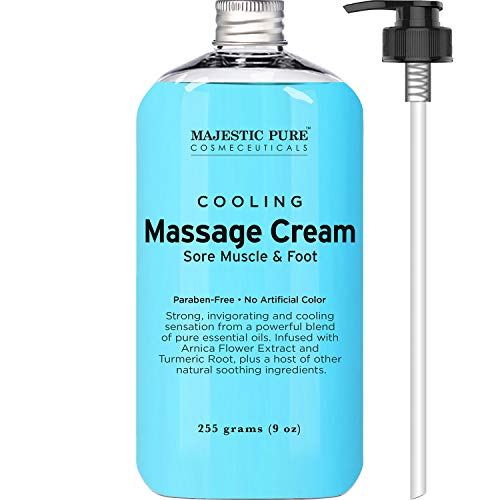 MAJESTIC PURE Cooling Foot and Muscle Massage Cream - for Sore Muscle, Body & Foot, Sports Massage - Advanced Formula with Soothing & Calming Essential Oils - 9 fl oz (Best Foot Cream For Sore Feet)