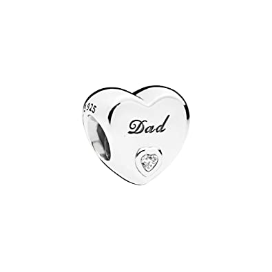 27decac06 Image Unavailable. Image not available for. Color: PANDORA Heart Charm in  Sterling Silver with Clear Cubic Zirconia ...