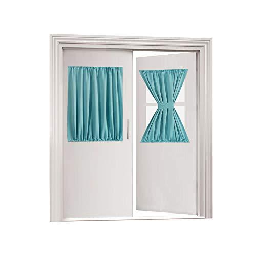 Flamingo P Privacy French Door Panel with Tieback Thermal Insulated Door Curtain Rod Pocket Room Darkening French Door Panel 40 Inch Long, Single Panel, 54 x 40 Inches, Aqua (Door Tie Panel Back)