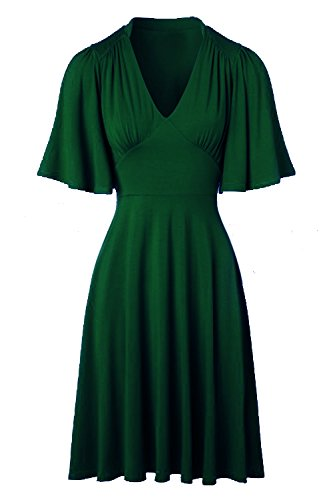 Tempt me Women Vintage 50s V-Neck Short Fluttery Butterfly Flattering Pleats Swing Dress Green - Website Fashion Fair