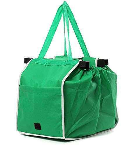 - Reusable Shopping Cart Bags Foldable Trolley Bags Grocery Shopping Supermarket Bags Green