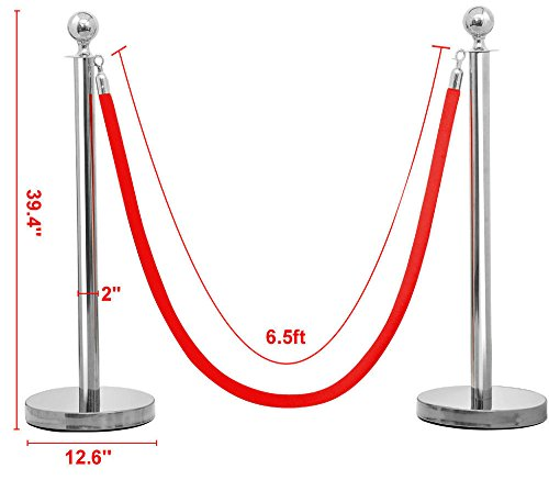 2Pcs Stainless Steel Stanchion Set/Post/Rope Velvet Velour VIP Queue Barrier (silver) from Unknown