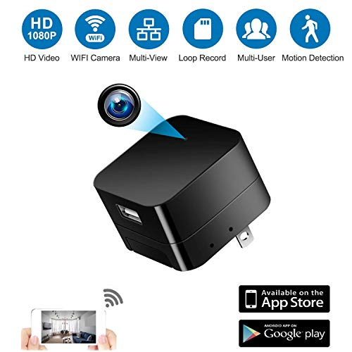 Spy Camera Wireless Hidden Cameras with Motion Detection,WiFi Wall Charger Nanny Cam Spy Camera with 1080P HD for Home Security Motion, Compatible for Android/iOS