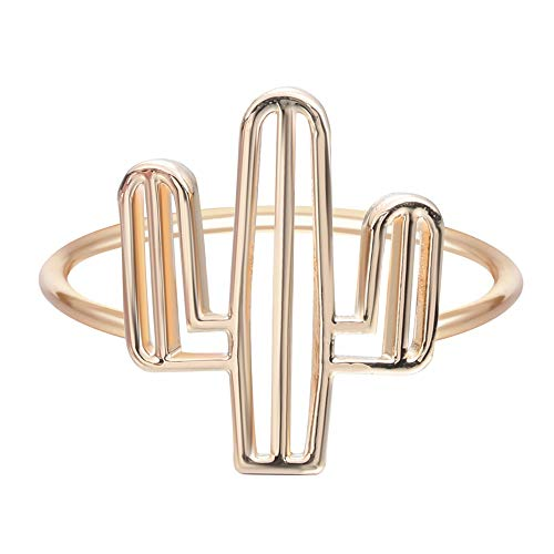 i Tree Ring Hollow Tree Geometric Finger Cactus Ring for Women and Girls ()