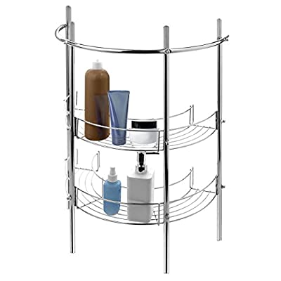 MyGift Under-The-Sink Bathroom Quality Pedestal Storage Rack with 2 Shelves & Hand Towel Bar, Chrome Plated