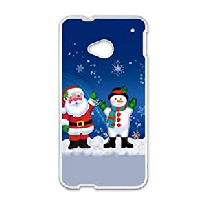 HTC One M7 Cell Phone Case White Merry Christmas Santa Claus And Snowman FY1515520