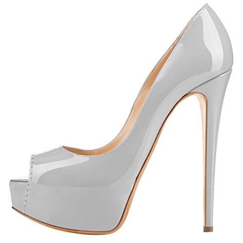 compensées chaussures Grau MONICOCO Lackleder femme 5Zpqnfxv