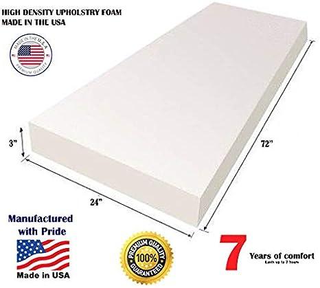 2 x 24 x 72 Comfort Classics Upholstery Foam High Density Polyurethane Foam
