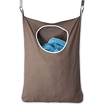 Laundry Nook, Door Hanging Laundry Hamper With Stainless Steel Hooks    (Coffee)