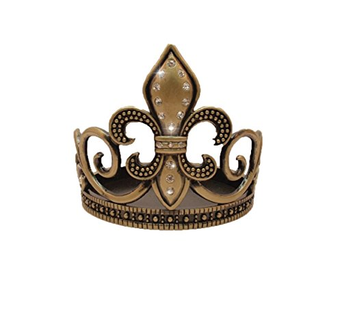 Candle Holder/Wine Coaster - Fleur de Lis Design - Brass Finish w/Crystals -3