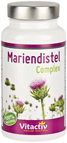 MARIENDISTEL COMPLEX mit Silymarin - Mariendistel + Artischocke + Löwenzahnwurzel + Taurin und mehr - Für eine gesunde Leber (60 Kapseln - Monatspackung)