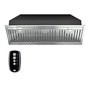 Futuro Futuro Insert-Liner Baffle 32 Inch Wall-mount / In-Cabinet Range Hood, Remote Control, LED, Ultra-Quiet, with Blower