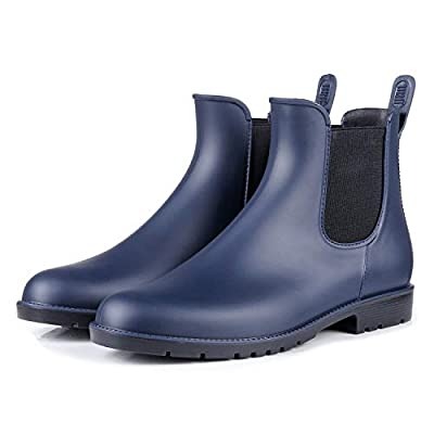 Colorxy Women's Ankle Rain Boots Fashion Elastic Chelsea Booties Anti Slip Waterproof Slip On Short Rain Booties