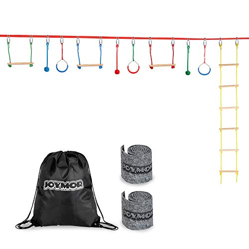 Best Review Of JOYMOR Upgraded Ninja Obstacle Course for Kids, 59 Feet Slack Line with Climbing Ladd...
