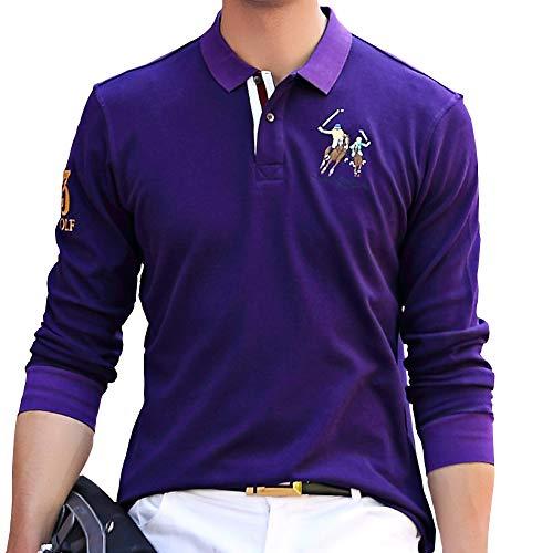 ポロシャツ メンズ 長袖 ゴルフウェア コットン 男性 刺繍 二重衿 軽量 吸汗通気 3色展開