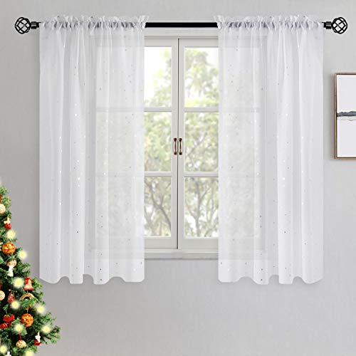 BGment White Sheer Curtains 63 Inch Length- Silver Star Foil Printed Rod Pocket Sheer Curtains for Bedroom, 2 Panels (52