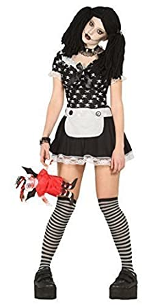 ladies sexy black white dead rag doll halloween fancy dress costume outfit uk 14 16