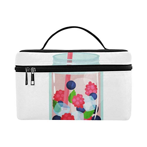 Cocktail Drink With Cold Ice Large Capacity Size Lady Cosmetic Bag Makeup Organizer Lunch Box Train Toiletry Case For Girls Teen Women Travel With Clear Zipper And Single Layer