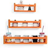 Onlineshoppee Wooden Wall Decor Multipurpose Wall Shelf with 3 Shelves Colour - Orange