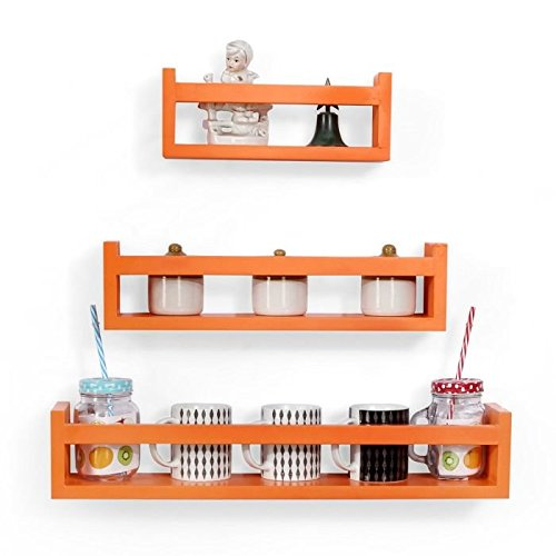 Onlineshoppee Wooden Wall Decor Multipurpose Wall Shelf with 3 Shelves Colour   Orange