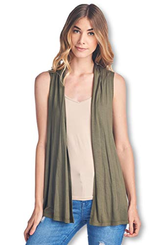 ReneeC. Women's Extra Soft Natural Bamboo Sleeveless Cardigan - Made in USA (3X-Large, Olive)