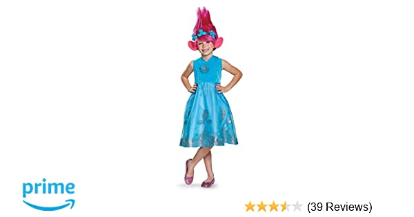 4d5ba31fbb420 Poppy Deluxe W/Wig Trolls Costume, Blue, Small (4-6X)