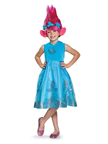 Poppy Deluxe W/Wig Trolls Costume, Blue, Medium (7-8) -