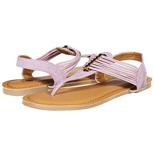 Sara Z Womens T Strap Elastic Vamp Flat Thong Sandal Size 7/8 Lilac -