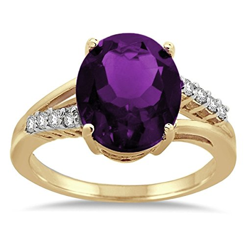 Oval Shaped Amethyst and Diamond Ring in 10K Yellow Gold -
