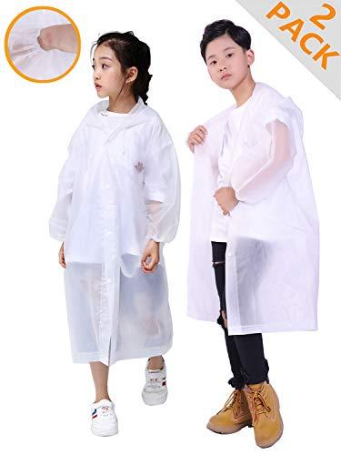 (HLKZONE Rain Coats for Kids, [2 Pack] EVA Emergency Reusable Rain Poncho Coat)