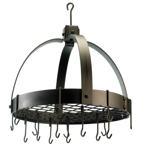 Bronze Pot Rack (Old Dutch 102BZ Dome Oiled Bronze Pot Rack with 16 Hooks, 20 by 15-1/4 by)