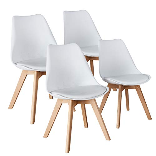 (Mid Century Modern Eames Style armless Plastic Chair Set of 4 Side Chair Beech Wood Leg Chair for Kitchen, Office,Dining, Coffee Shop,Living Room to Easy Assemble and Clean(4, White))