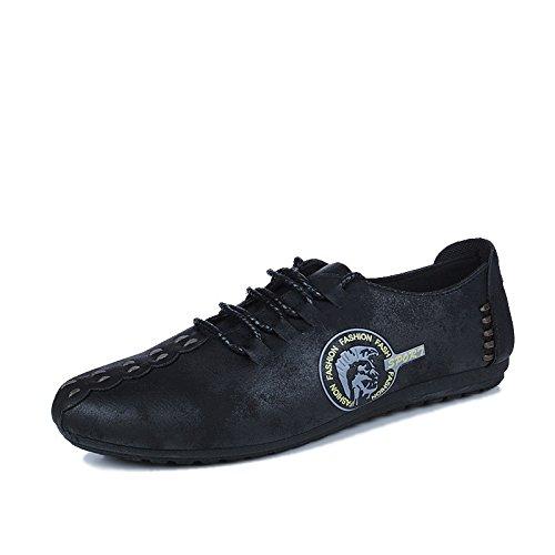 WZG El nuevo calzado ligero perezoso establece zapatos casuales del pie zapatos de moda zapatos de los guisantes Black