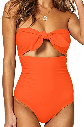 QINSEN Women High Cut One Piece Swimsuit Sexy Strapless Tie Knot Front Cutout Swimwear Bikini Orange S