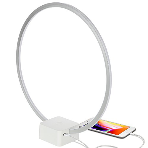 Brightech Circle - LED Modern Bedroom Nightstand Lamp - Super Bright Bedside Table Reading Light, Dimmable To Night Light - Great On Side & End Tables - USB Port - White