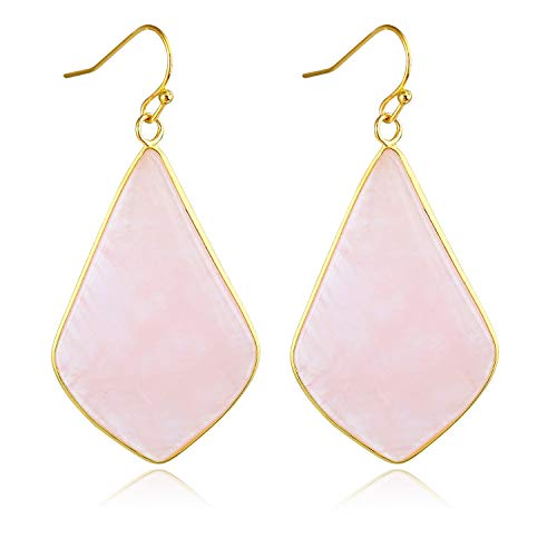 Stone Crystal Dangle Drop Earrings Teardrop/Oval Stylish Jewelry for Women Ladies Girls (Rose Quartz(Rhombus)) Crystal Teardrop Dangle Earrings