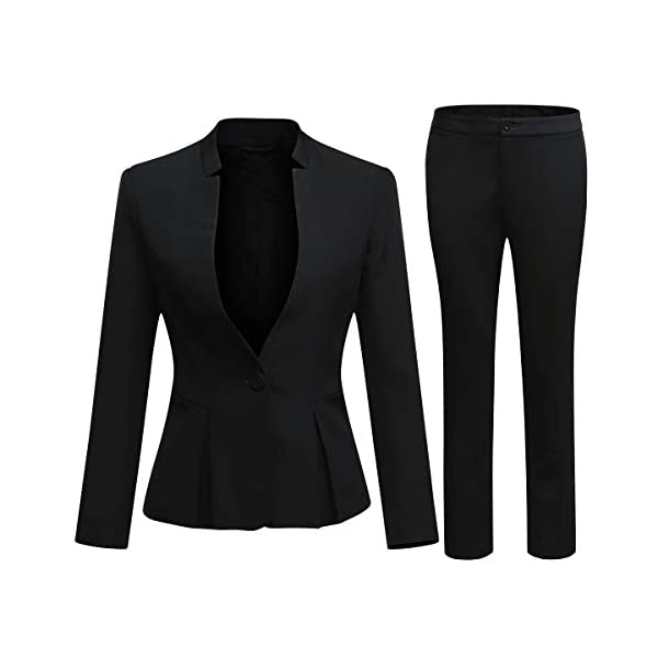 Kerrian Online Fashions 41XLuyUwUHL Women's Business Office 1 Button Blazer Jacket and Pants Suit Set
