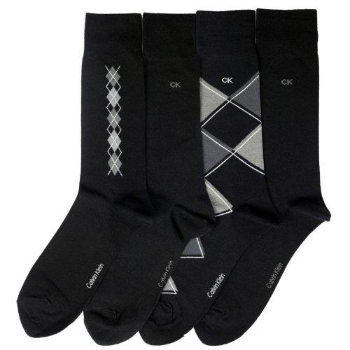 Calvin Klein Men's Argyle Crew Socks- 4 Pack, Black, Large Calvin Klein Cotton Dress Socks