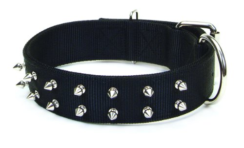 Macho Dog Double-Ply Nylon Spiked Collar with Roller Buckle