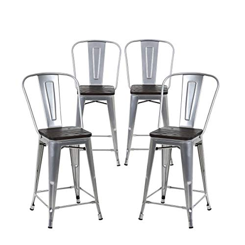 Buschman Set of 4 Grey Wooden Seat 24 Inch Counter Height Metal Bar Stools with High Back, Indoor Outdoor