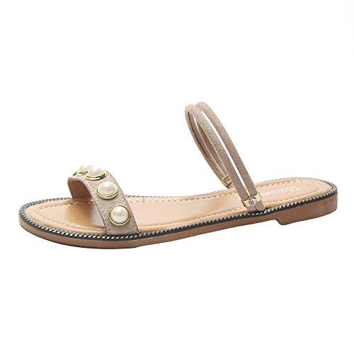 MOIKA Damen Sandale, Mode Damen Sommer Bohemia Flach Zehentrenner Sandale mit Perle Beige
