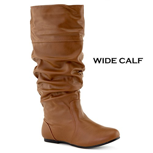 Slouchy Tan OF Calf Soft Knee FASHION RF Pu Boots Pocket Wide Women's Vegan Hidden ROOM High 4Cx7wqHY