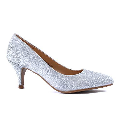 (Guilty Heart | Womens Classic Pointy Toe Low Kitten Heel | Office Dress Slip On Fashion Pump | 22 Colors (8 M US, Silver Glitter))