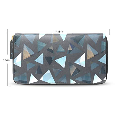 Women Retro Triangle Greek Geometric Leather Wallet Large Capacity Zipper Travel Wristlet Bags Clutch Cellphone Bag