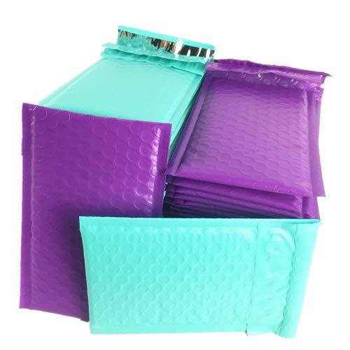 Sarira C Purple and Teal Blue Bubble mailers Poly Padded envelopes (4x8) 50 Pack